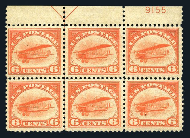 US Stamps Value Scott Catalog #C1: 1918 6c Air Curtiss Jenny. Harmer-Schau Auction Galleries, Aug 2015, Sale 106, Lot 2007