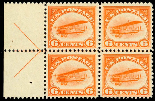 Prices of US Stamps Scott Cat. C1 - 6c 1918 Air Curtiss Jenny. Daniel Kelleher Auctions, Oct 2014, Sale 660, Lot 2497