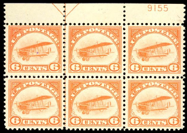 Price of US Stamp Scott Catalog C1: 6c 1918 Air Curtiss Jenny. Daniel Kelleher Auctions, Aug 2015, Sale 672, Lot 2867