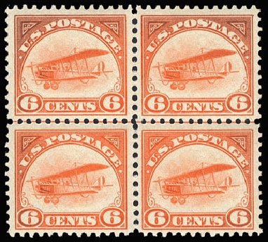 US Stamp Values Scott Catalog #C1 - 6c 1918 Air Curtiss Jenny. Cherrystone Auctions, Jan 2009, Sale 200901, Lot 248