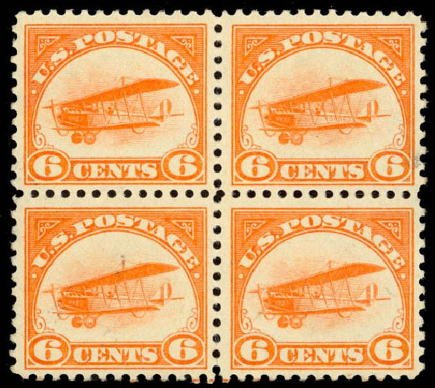 US Stamps Values Scott Catalog # C1: 6c 1918 Air Curtiss Jenny. Daniel Kelleher Auctions, Oct 2014, Sale 660, Lot 2498
