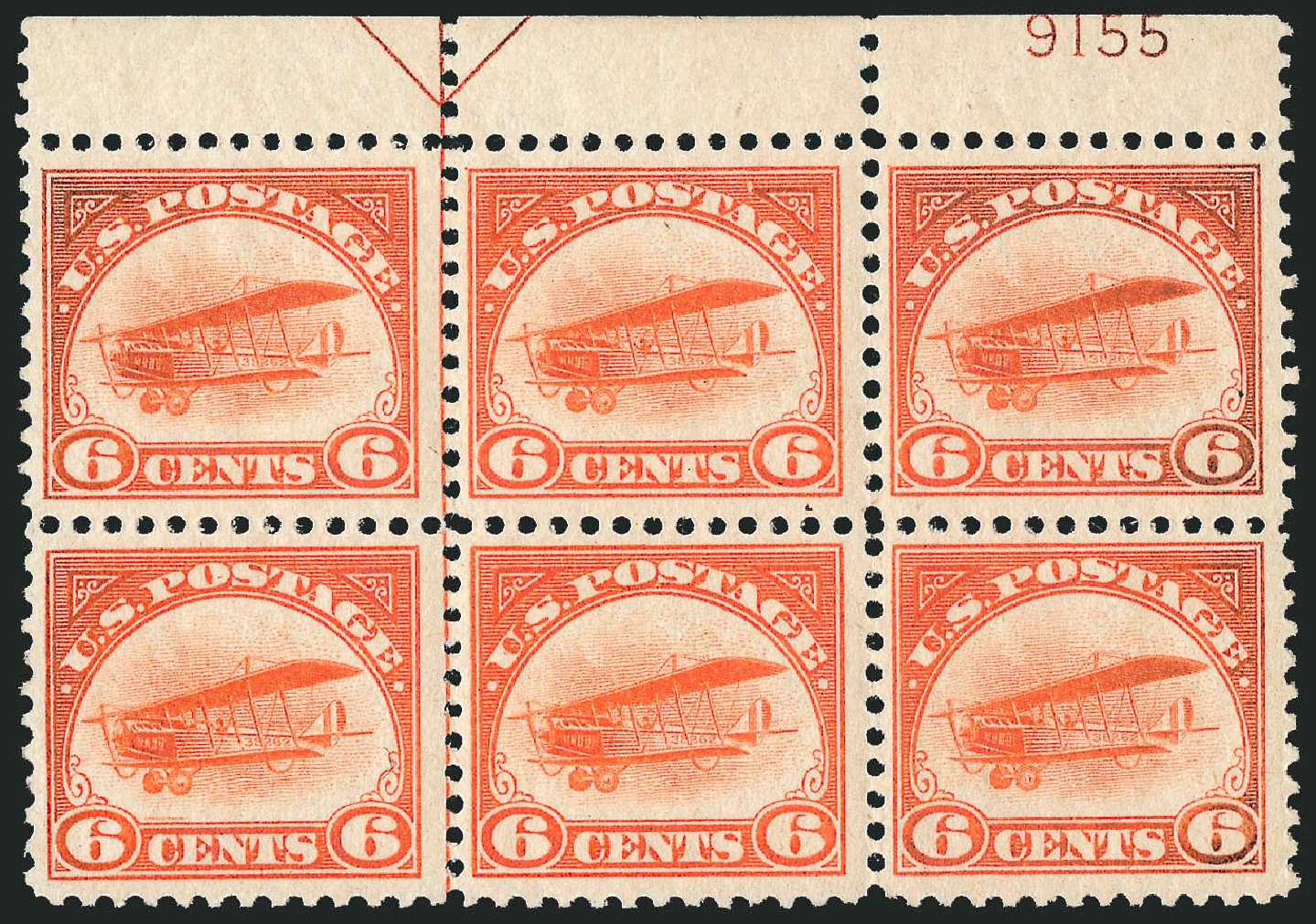 Prices of US Stamps Scott Cat. # C1 - 6c 1918 Air Curtiss Jenny. Robert Siegel Auction Galleries, Jul 2014, Sale 1077, Lot 348