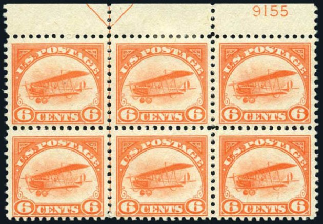 Price of US Stamp Scott Cat. # C1: 1918 6c Air Curtiss Jenny. Harmer-Schau Auction Galleries, May 2014, Sale 101, Lot 189