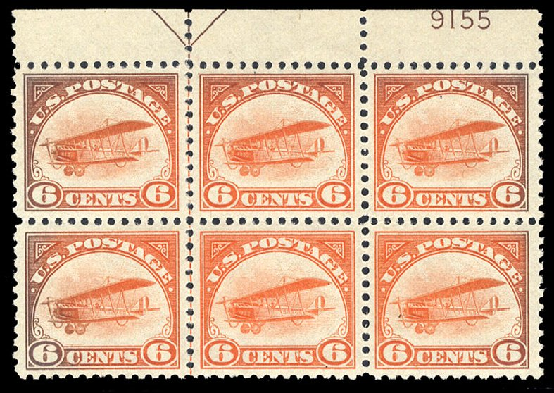Price of US Stamps Scott Cat. C1 - 1918 6c Air Curtiss Jenny. Cherrystone Auctions, Sep 2014, Sale 201409, Lot 60