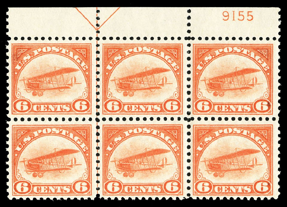 Cost of US Stamp Scott Catalog #C1 - 1918 6c Air Curtiss Jenny. Cherrystone Auctions, Jul 2015, Sale 201507, Lot 2180