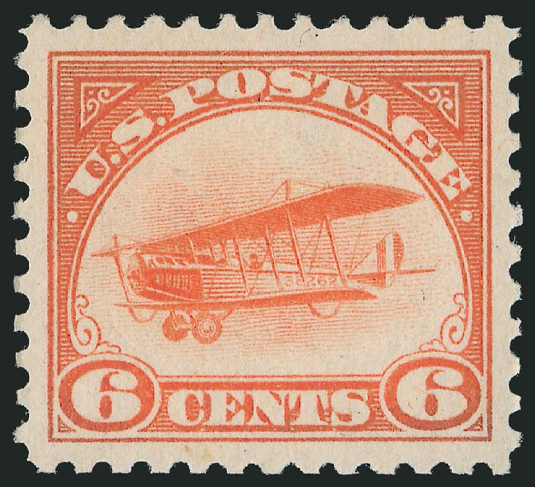 US Stamp Values Scott Catalogue # C1: 6c 1918 Air Curtiss Jenny. Robert Siegel Auction Galleries, Dec 2014, Sale 1090, Lot 1600