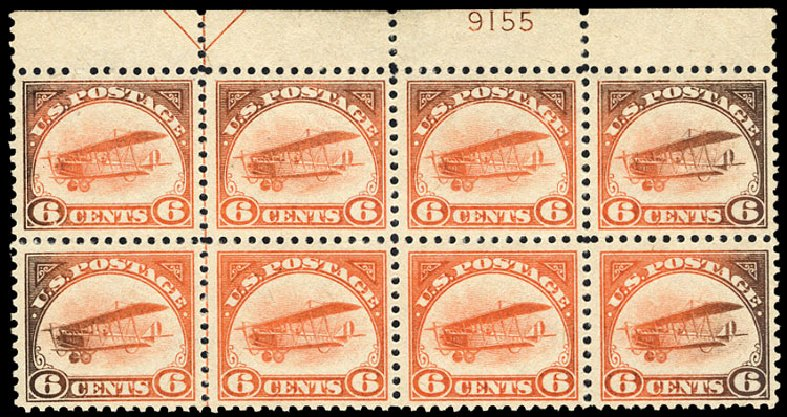 Value of US Stamp Scott Cat. C1 - 1918 6c Air Curtiss Jenny. Cherrystone Auctions, Jul 2013, Sale 201307, Lot 151