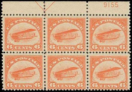 US Stamps Values Scott Cat. C1: 1918 6c Air Curtiss Jenny. H.R. Harmer, Nov 2013, Sale 3004, Lot 1361