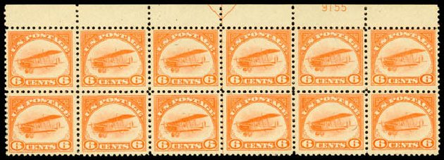 US Stamps Values Scott C1 - 1918 6c Air Curtiss Jenny. Daniel Kelleher Auctions, Jan 2015, Sale 663, Lot 2051