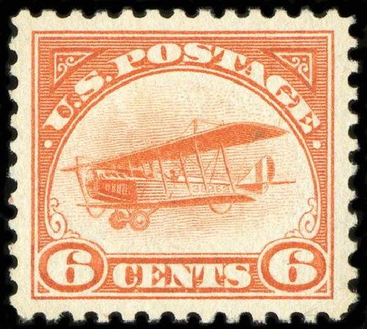 Values of US Stamp Scott Cat. C1 - 1918 6c Air Curtiss Jenny. Spink Shreves Galleries, Jul 2015, Sale 151, Lot 351