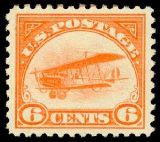 Values of US Stamp Scott Cat. C1: 1918 6c Air Curtiss Jenny. Daniel Kelleher Auctions, May 2014, Sale 653, Lot 2314