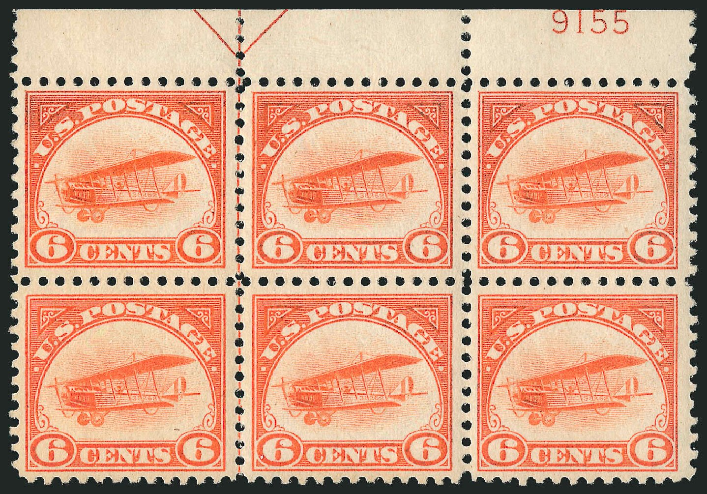 Cost of US Stamp Scott Catalog C1: 1918 6c Air Curtiss Jenny. Robert Siegel Auction Galleries, Jul 2015, Sale 1107, Lot 564