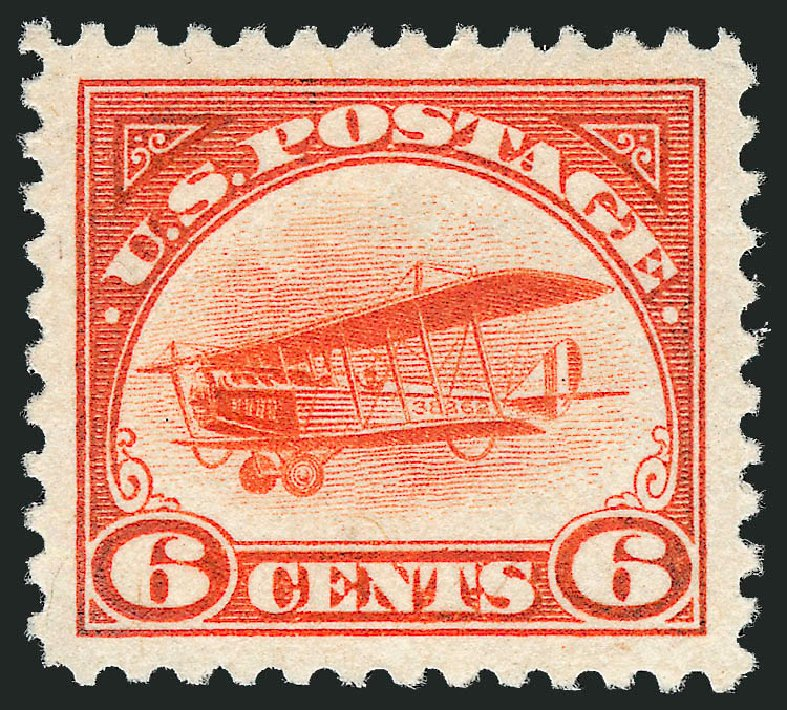 US Stamps Values Scott Catalog #C1 - 6c 1918 Air Curtiss Jenny. Robert Siegel Auction Galleries, Dec 2008, Sale 967, Lot 5024