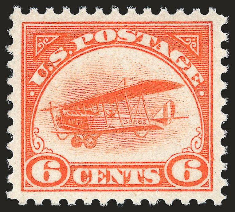Costs of US Stamp Scott Catalog C1: 6c 1918 Air Curtiss Jenny. Robert Siegel Auction Galleries, Dec 2009, Sale 982, Lot 6024