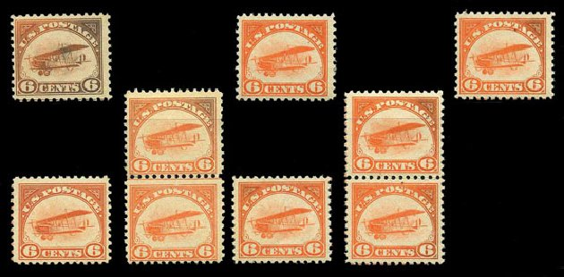 US Stamps Price Scott Catalog # C1: 1918 6c Air Curtiss Jenny. Harmer-Schau Auction Galleries, Aug 2015, Sale 106, Lot 2005