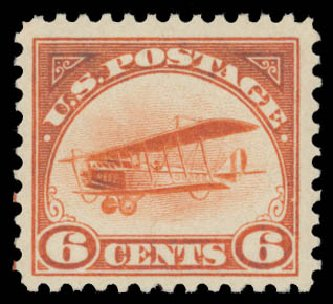 US Stamp Value Scott C1 - 6c 1918 Air Curtiss Jenny. Daniel Kelleher Auctions, May 2015, Sale 669, Lot 3225