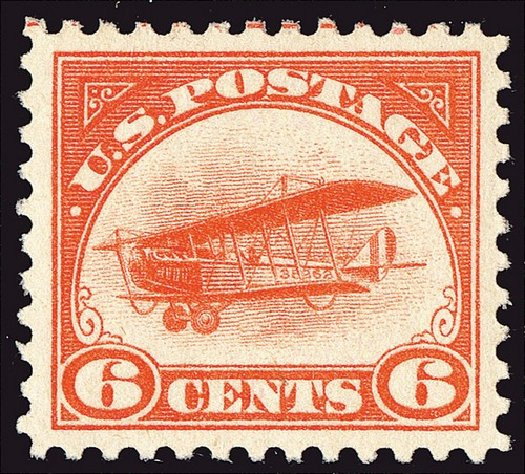 Price of US Stamp Scott Catalogue C1: 6c 1918 Air Curtiss Jenny. Spink Shreves Galleries, Jan 2014, Sale 146, Lot 485
