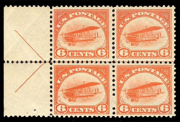 US Stamps Value Scott Catalog #C1 - 6c 1918 Air Curtiss Jenny. Cherrystone Auctions, Mar 2015, Sale 201503, Lot 72