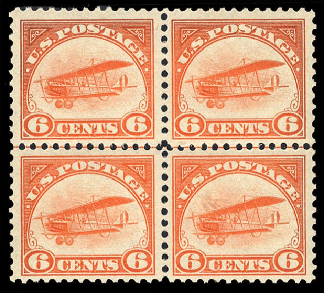 US Stamps Value Scott Catalog # C1 - 6c 1918 Air Curtiss Jenny. Cherrystone Auctions, Jul 2015, Sale 201507, Lot 92