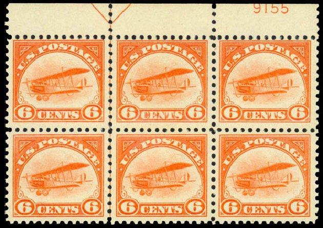 Values of US Stamps Scott # C1 - 6c 1918 Air Curtiss Jenny. Daniel Kelleher Auctions, Mar 2014, Sale 648, Lot 2292