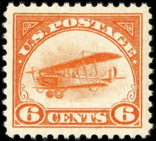 US Stamps Price Scott Cat. #C1 - 6c 1918 Air Curtiss Jenny. Spink Shreves Galleries, Jul 2015, Sale 151, Lot 352