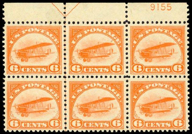 Price of US Stamp Scott Cat. #C1 - 6c 1918 Air Curtiss Jenny. Daniel Kelleher Auctions, May 2014, Sale 653, Lot 2473