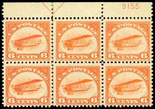 US Stamps Values Scott Catalogue # C1 - 6c 1918 Air Curtiss Jenny. Daniel Kelleher Auctions, Sep 2014, Sale 655, Lot 813