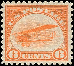 Value of US Stamp Scott Cat. C1: 6c 1918 Air Curtiss Jenny. Regency-Superior, Aug 2015, Sale 112, Lot 1003