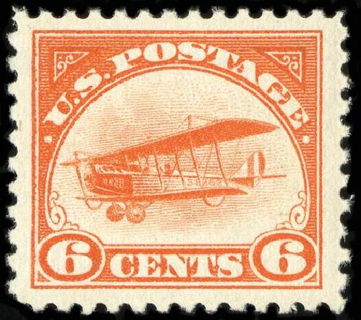 US Stamps Values Scott # C1 - 1918 6c Air Curtiss Jenny. Spink Shreves Galleries, Jul 2015, Sale 151, Lot 353