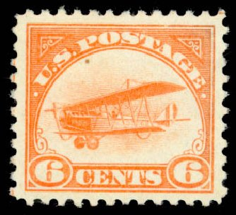 US Stamps Price Scott C1 - 6c 1918 Air Curtiss Jenny. Daniel Kelleher Auctions, Oct 2014, Sale 660, Lot 2496