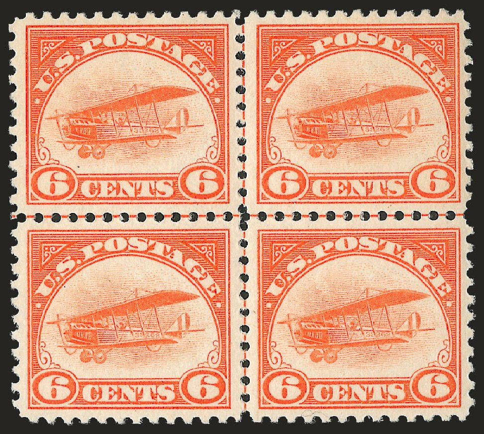 Value of US Stamps Scott Catalog #C1 - 1918 6c Air Curtiss Jenny. Robert Siegel Auction Galleries, Dec 2009, Sale 982, Lot 6026