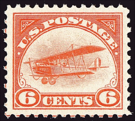 Costs of US Stamp Scott Catalog #C1 - 6c 1918 Air Curtiss Jenny. Spink Shreves Galleries, Jan 2014, Sale 146, Lot 486