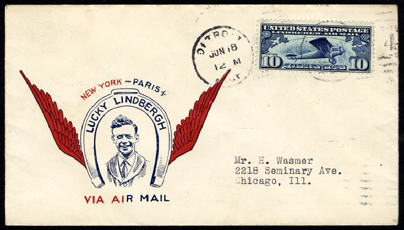 Cost of US Stamps Scott Catalog # C10: 1927 10c Air Lindbergh Plane Spirit. Cherrystone Auctions, Nov 2013, Sale 201311, Lot 169