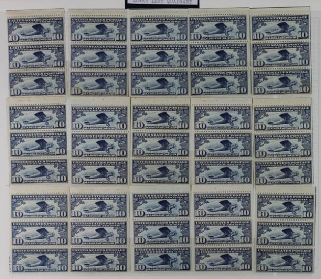 Costs of US Stamps Scott Catalogue #C10: 10c 1927 Air Lindbergh Plane Spirit. Daniel Kelleher Auctions, May 2014, Sale 652, Lot 829