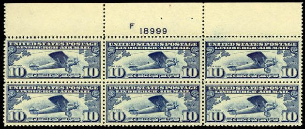 Costs of US Stamps Scott Catalogue C10 - 10c 1927 Air Lindbergh Plane Spirit. Daniel Kelleher Auctions, May 2014, Sale 653, Lot 2480