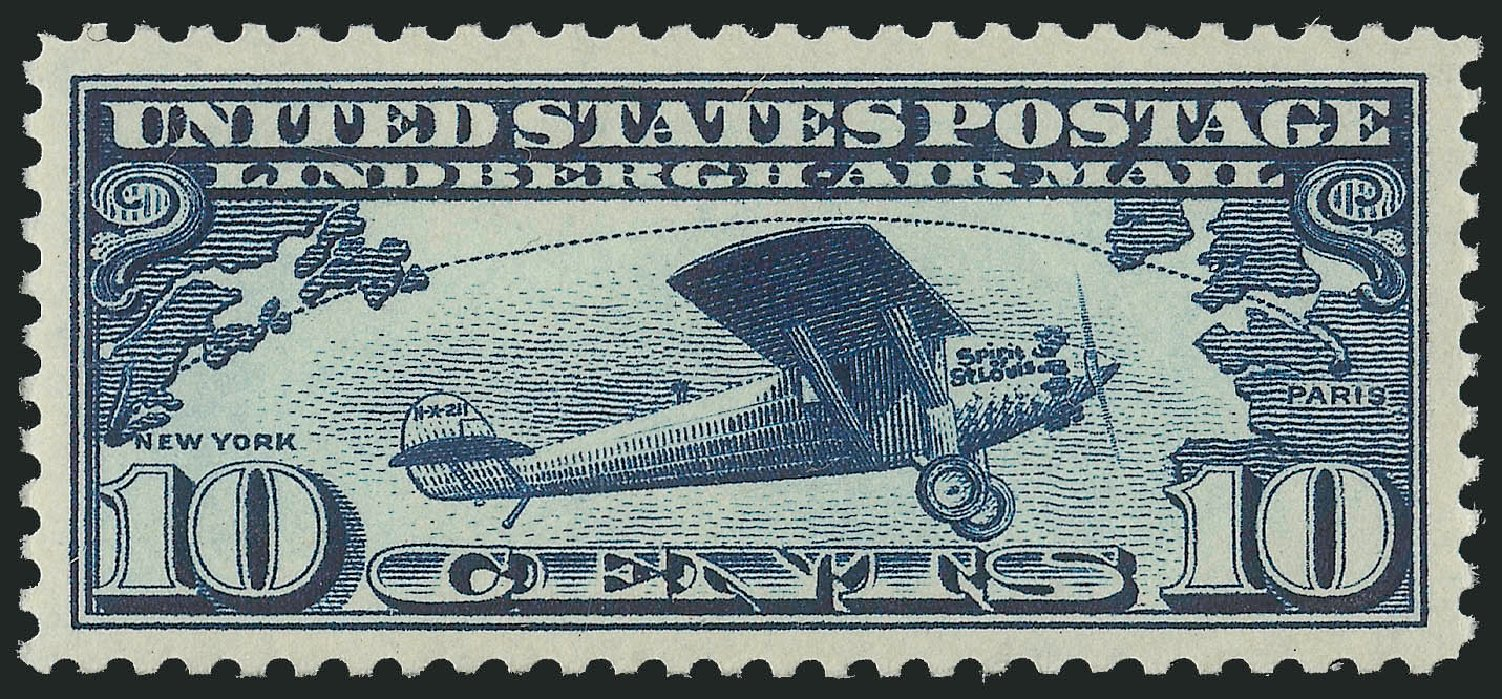Cost of US Stamps Scott # C10: 10c 1927 Air Lindbergh Plane Spirit. Robert Siegel Auction Galleries, Jul 2013, Sale 1050, Lot 700