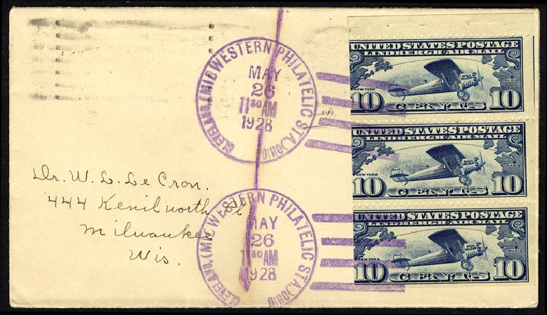Value of US Stamp Scott Catalogue # C10 - 1927 10c Air Lindbergh Plane Spirit. Cherrystone Auctions, Nov 2013, Sale 201311, Lot 171