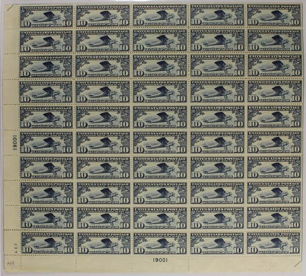 Cost of US Stamps Scott Catalog #C10: 1927 10c Air Lindbergh Plane Spirit. Daniel Kelleher Auctions, Sep 2013, Sale 639, Lot 3741