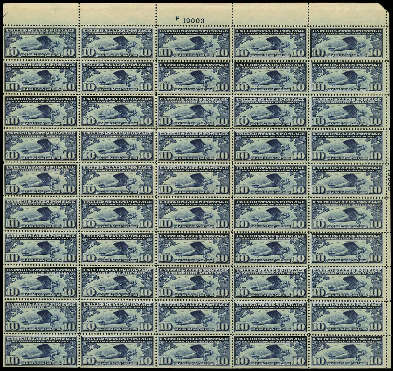 US Stamps Prices Scott Catalog #C10: 10c 1927 Air Lindbergh Plane Spirit. Regency-Superior, Aug 2015, Sale 112, Lot 1511
