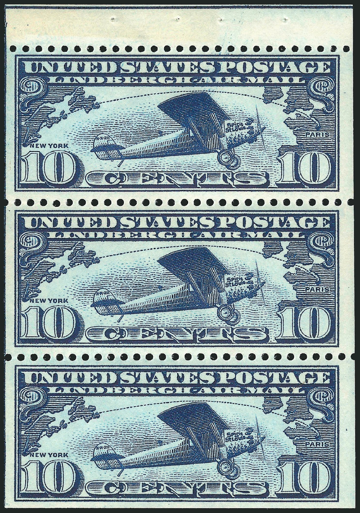US Stamp Price Scott # C10 - 10c 1927 Air Lindbergh Plane Spirit. Robert Siegel Auction Galleries, Mar 2014, Sale 1067, Lot 1641
