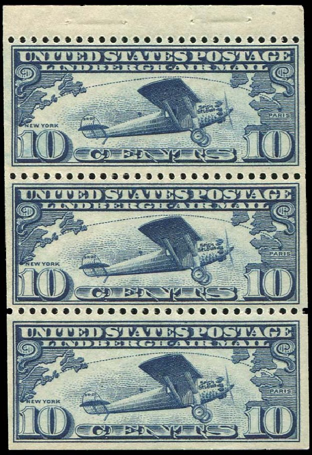 Value of US Stamp Scott #C10: 10c 1927 Air Lindbergh Plane Spirit. Regency-Superior, Jan 2015, Sale 109, Lot 1406