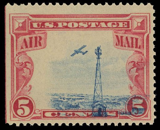 Prices of US Stamp Scott Catalog #C11 - 1928 5c Air Beacon on Rocky Mountains. Daniel Kelleher Auctions, Aug 2012, Sale 631, Lot 1616