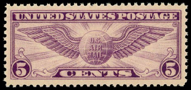 Price of US Stamp Scott Catalogue # C12 - 5c 1930 Air Winged Globe. Daniel Kelleher Auctions, May 2014, Sale 653, Lot 2318