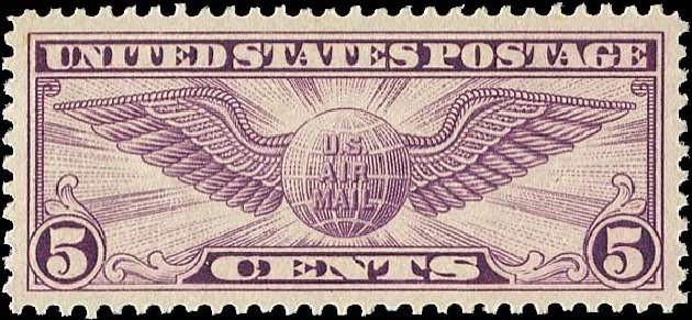 Values of US Stamp Scott Cat. #C12 - 5c 1930 Air Winged Globe. Regency-Superior, Nov 2014, Sale 108, Lot 1091