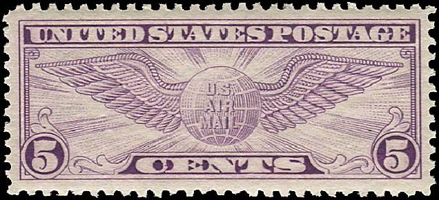 US Stamps Value Scott Catalogue C12: 5c 1930 Air Winged Globe. Regency-Superior, Aug 2015, Sale 112, Lot 1024