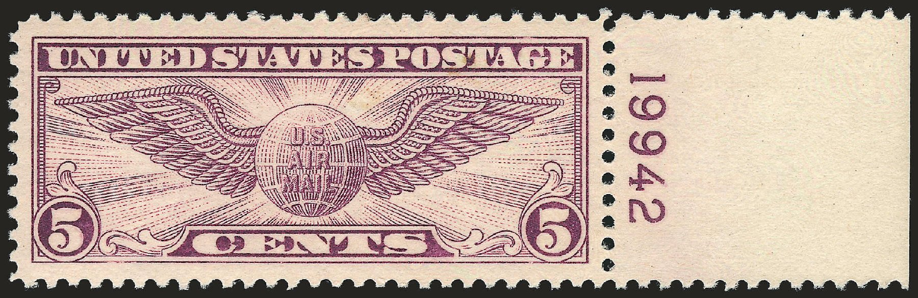 Costs of US Stamps Scott #C12 - 1930 5c Air Winged Globe. Robert Siegel Auction Galleries, Dec 2008, Sale 967, Lot 5042