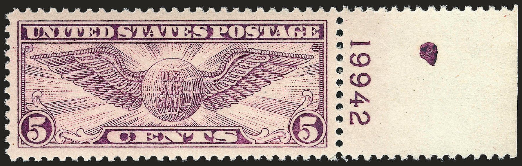 Cost of US Stamp Scott #C12: 1930 5c Air Winged Globe. Robert Siegel Auction Galleries, Sep 2008, Sale 962, Lot 2943