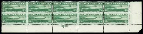 Value of US Stamp Scott Catalogue # C13 - 65c 1930 Air Graf Zeppelin. Matthew Bennett International, Oct 2007, Sale 320, Lot 617