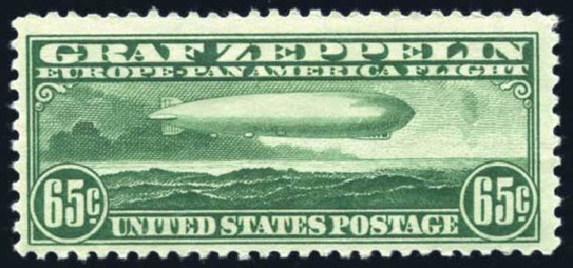 Price of US Stamps Scott Catalogue C13 - 1930 65c Air Graf Zeppelin. Harmer-Schau Auction Galleries, Jun 2008, Sale 78, Lot 1717