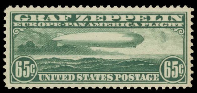 US Stamps Prices Scott Catalogue C13: 1930 65c Air Graf Zeppelin. Daniel Kelleher Auctions, May 2015, Sale 669, Lot 3247